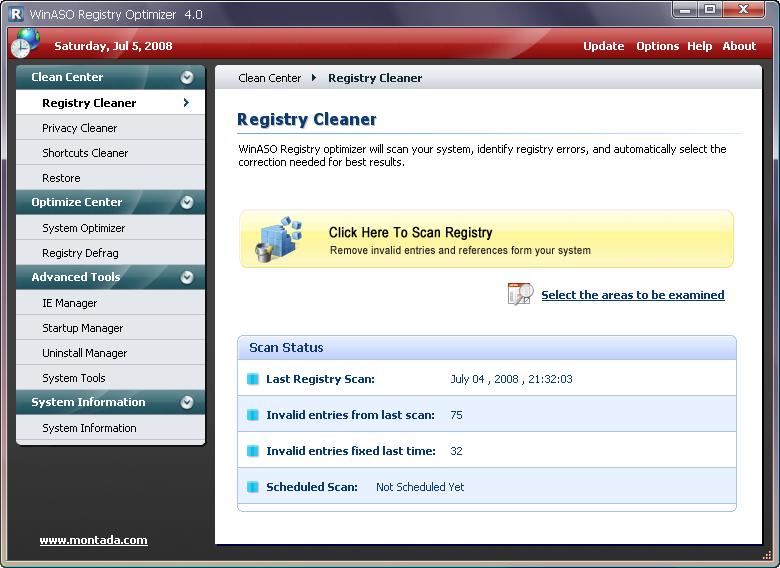 عملاق الصيانه فى آخر اصداراته مع الكراك WinASO Registry Optimizer v 4 Full