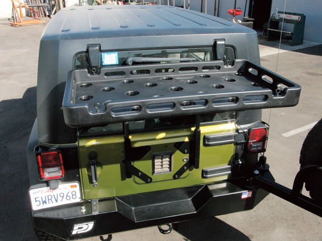 Or Fab Tire Carrier With Highrock Rear Cargo Rack Jk
