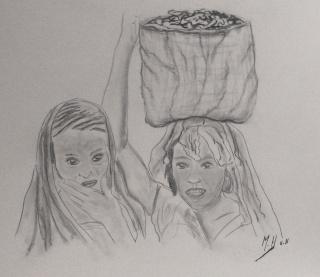 Entre femmes. dans DESSINS FUSAIN p1170716