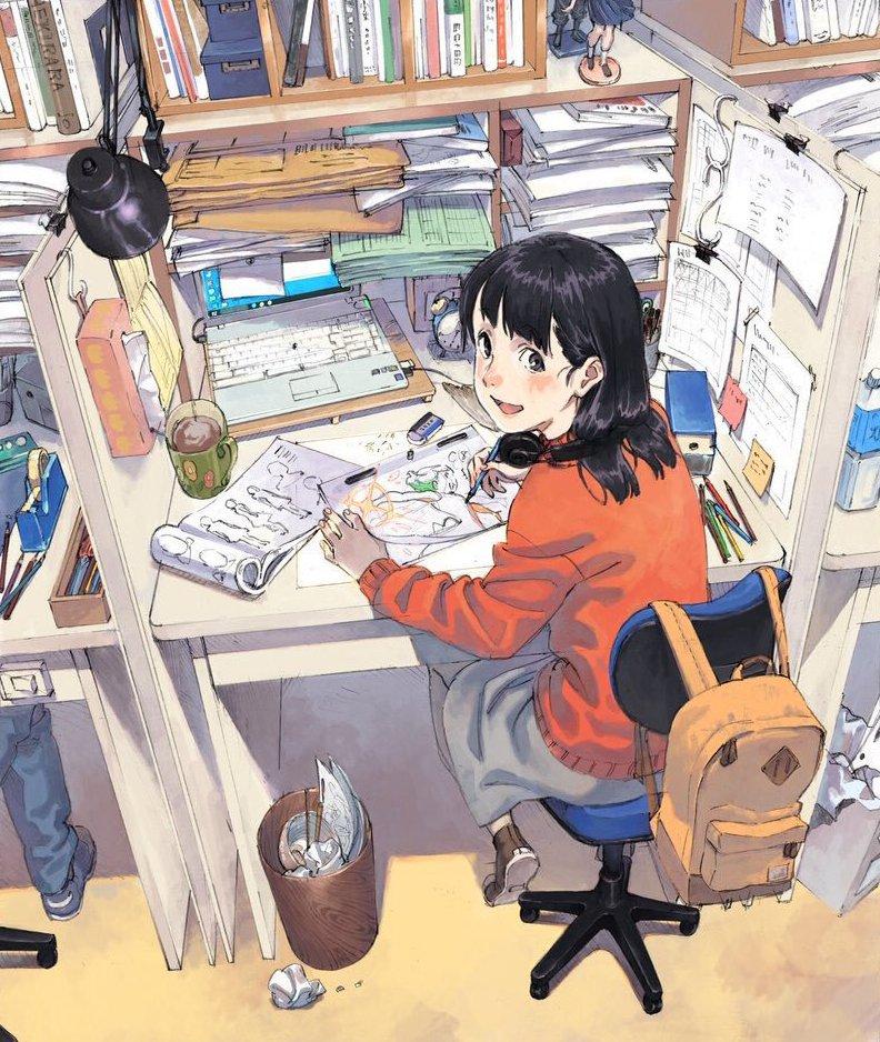 anime, girl and work - image #6297616 on Favim.com