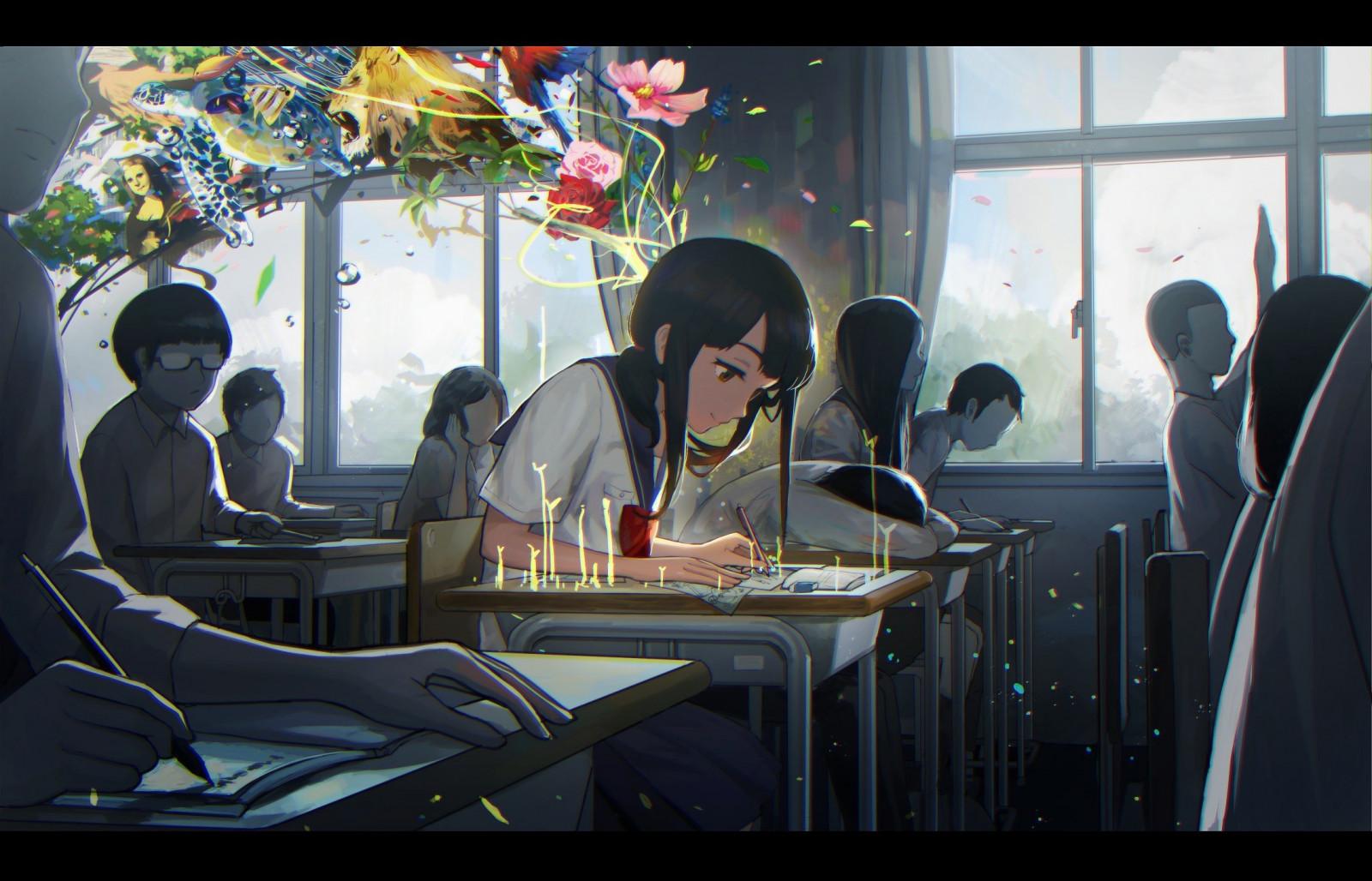 Hoa, Anime, trường học, phòng học, Màu xám nền, học tập, cuộc hội thoại, Ảnh chụp màn hình